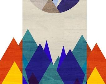 Night, Mountain Art Print (Retro Moon, Red  and Blue Mountain, Geometric Illustration) 5x7 8x10 11x14