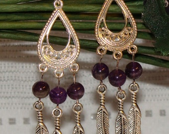 Amethyst and Feather Earrings