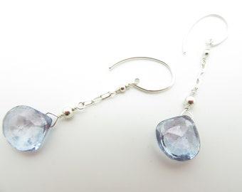 Handmade Blue Quartz and Sterling Silver Earrings