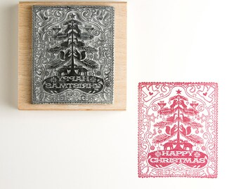 Happy Christmas Rubber Stamp - christmas stamp - christmas tree - christmas card stamp - christmas gift - custom stamp