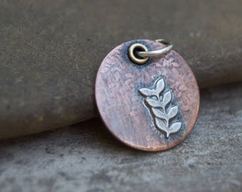 Hand Forged . Sterling Twig Copper Artisan Finding . Pendant . Supply . Brass . Handmade Finding Supply
