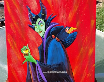 Maleficent and Diablo from Disney's Sleeping Beauty. Plotting and sly. One Of A Kind 16 x 20 portrait by Disney Obscura.