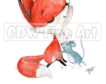 Personalised Cuddly Fox and Mouse Print