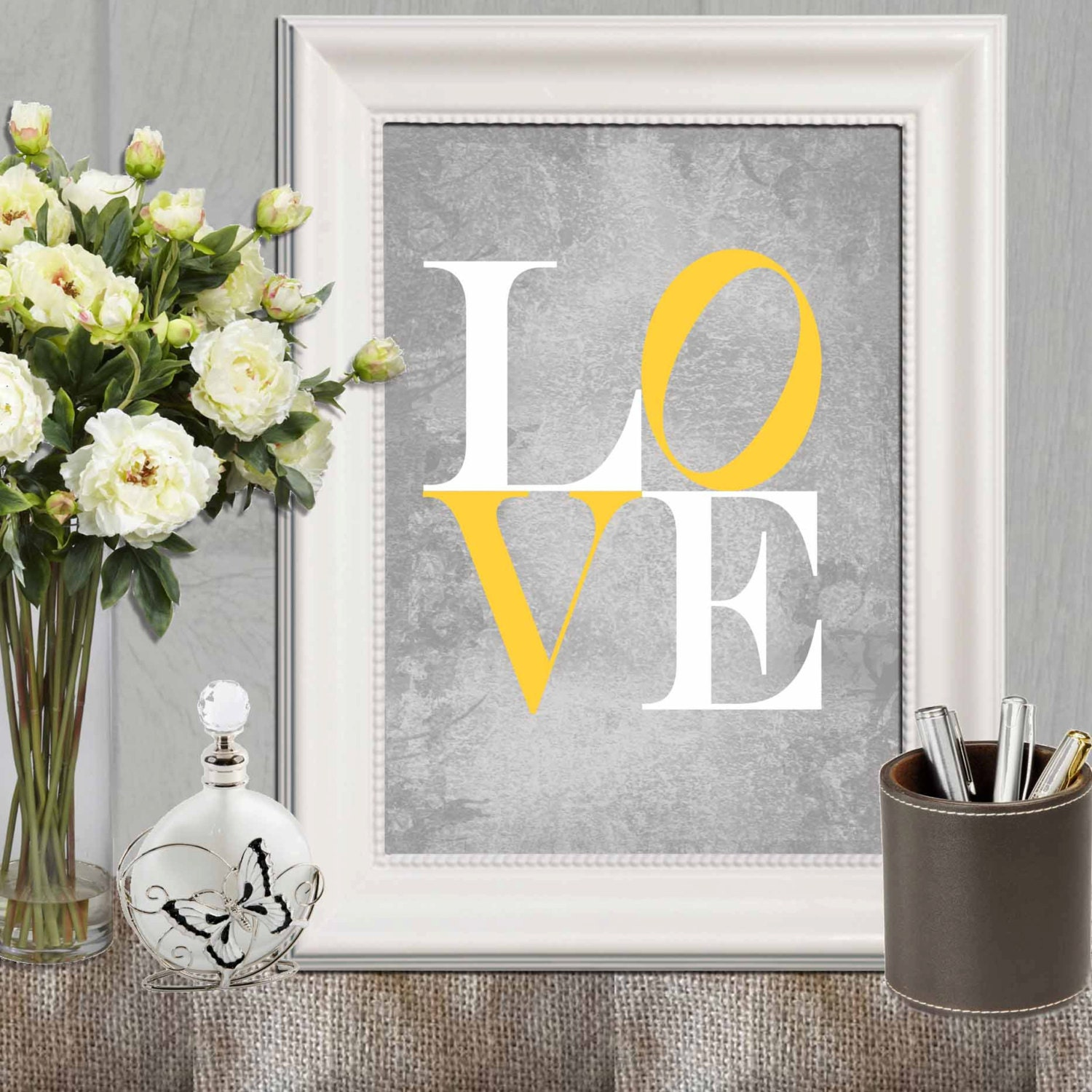 Love print Yellow gray love printable Nursery love print