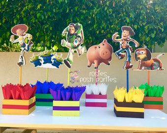 Toy Story Birthday Centerpiece Toy Story Party Buzz Lightyear Woody and Jessie Wood Table centerpiece on base for birthday SET OF 6