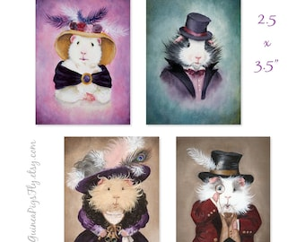 Victorian Piggies 4 mini-print ACEO set - Stocking Stuffers from When Guinea Pigs Fly