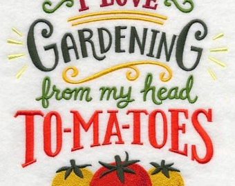 Tomatoes Gardening Embroidered Towel | Embroidered Kitchen Towel | Flour Sack Towel | Embroidered Tea Towel | Vintage Style Kitchen Towel