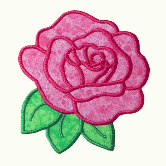 Rose applique embroidery machine design - Applique di design ...