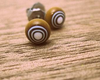 Millefiori glass stud earrings tiny glass - brown