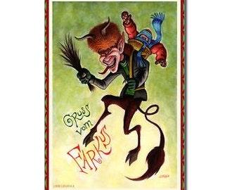 KRAMPUS FARKUS Postcards. Package of eight.