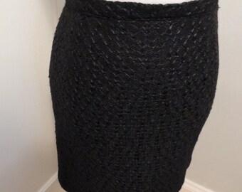 Vintage 1960s black mini skirt, woven texture, small, xs
