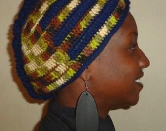 Amazon Blues, Crochet African Mohawk Headwrap
