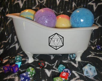 Critical Role Bath Bombs: Full Set Of 7 Large Character Inspired Bath Bombs With Full Set of Polyhedral Dice Inside