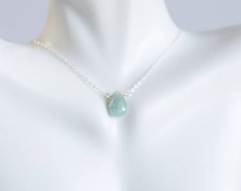 Aquamarine pendant/ AQUAMARINE JEWELRY/ Natural Aquamarine necklace /Delicate Aquamarine Necklace /March birthstone necklace