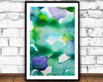 Watercolor Art Print, Large Ink Poster, Green And Blue, Wall Art Prints, Modern Minimalist Abstract, Painting Print, Modern Wall Artprint