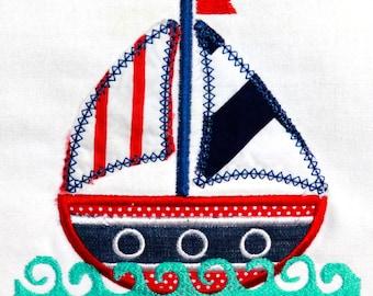 Sailboat Applique Design INSTANT DOWNLOAD