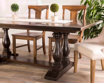 Double Pedestal Trestle Dining Table
