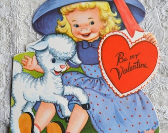 Vintage Valentines Day Card - Little Girl and Lamb - Used