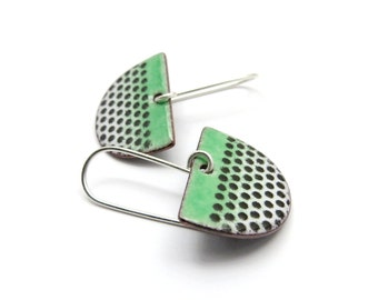 Green Dangle Earrings with Black Polka Dots and Sterling Silver Earwires - Modern Enamel Jewelry - Gift for her