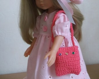 PRETTY dress ROSE with a Cape and a bag for doll from 32 to 34 cm