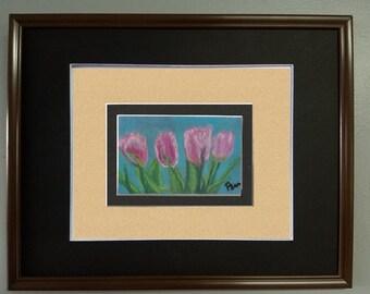"4x6 Original Pastel Painting, Flower Artwork, ""Pink Tulips"""