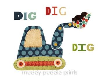 nursery Art, Nursery decor, art print - boys room digger art