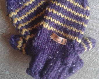 Striped fingerless gloves small/medium and knitted by hand