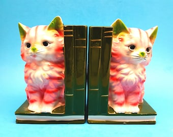 Cat Bookends, Vintage Cat Figurines, Pink Cat Figurines, Vintage Bookends, Ceramic Cat Figurines