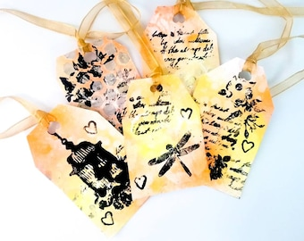 5 x Decorative tags, scrapbook tags, scrapbooking, tags, handmade tags, gift tags, mixed media