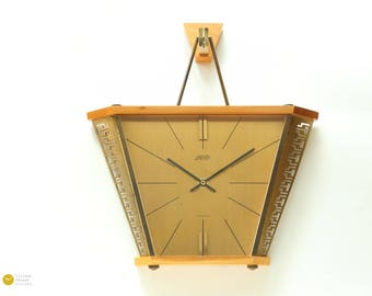 50s ATLANTA JUNGHANS Wall Clock - Mid Century Danish Modern Atomic Space Age Germany mcm 60s Starburst