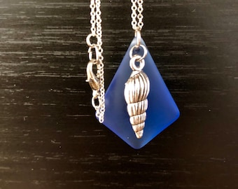 Blue sea glass pendant with shell charm--shipping included!