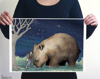 Giant Wombat & Banjo Boy, Large A3 or A2 Art Print by flossy-p. Australian animal, gift.