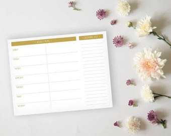 Menu Planner - Simple Gold Grid Dinner Menu Planner Sheet - Grocery List, Meal Prep Planning, Dinner Planning - Instant Download