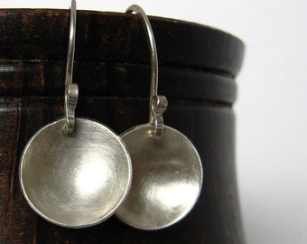 Wok sterling silver earrings - domed disks, everyday go-with-everything, classic with swirl ear hook detail