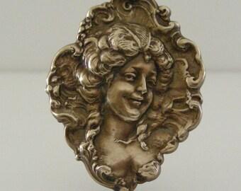 Vintage Pendant - Vintage Brass Stamping - French Pendant - DIY Necklace - Large Pendant