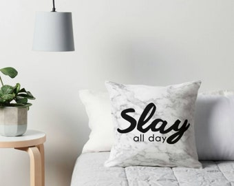 Slay all day quote marble throw cushion - motivational quote - grey cushion - inspo quote - Inspirational - grey white black marble - slay