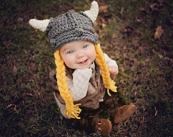 Viking Hat, Knight, Dwarf, VIking Baby Hat, Viking Costume, Crochet, Minnesota, Kids, Lord Rings, Hobbit, Stoic, Astrid, Gimli, Child