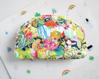 Liberty print cosmetic hexagon dumpling zip pouch