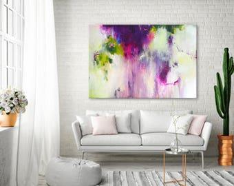 Originele XXL abstracte Acryl schilderij met grote abstracte kunst, kleurrijke kunst, felle kleuren, framboos roze geel groen op gespannen doek