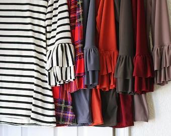 LillyAnnaLadies Adele Layering Ruffled Shirt top LALA