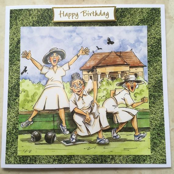 Handmade Birthday Card 3d Decoupage Humourous Female Bowls