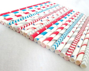 Straws Nautical Party Favors July 4th Favors Red White and Blue Straws 4th of July Drinking Straws Nautical Straws Stripe Straws Star Straws