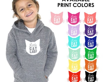 Little Cat Lady Toddler Kids Heather Grey Hoodie Sweatshirt - Cat Lover, Meow, Animal, Kitty, Future Veterinarian