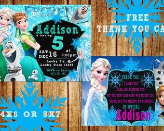 ON SALE Frozen Invitation Elsa and Anna Blue Snowy Glitter
