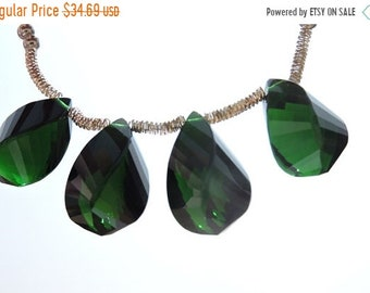 25% OFF Summer Sale 5 Pcs Outrageous Chrome Green Quartz Faceted Twisted Drops Briolette Size 19*10 MM