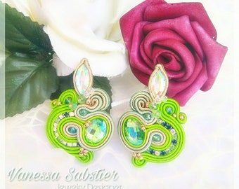 Soutache Earrings, Made in Italy, Soutache jewelry, Lobe earrings, Green Earrings, Elegant Earrings, brass pins, Earrings, gift for her,