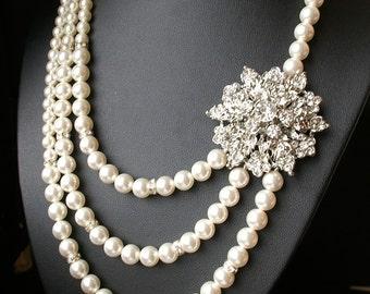 Art Deco Bridal Necklace, Pearl Bridal Jewelry, Statement Wedding Necklace, Swarovski Pearl Necklace, Vintage Wedding Jewelry, CORSAGE