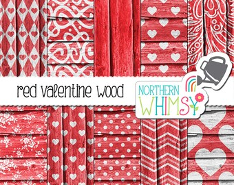 Red Valentine's Wood Digital Paper – red wood textures with heart patterns - red heart digital paper - printable paper - commercial use