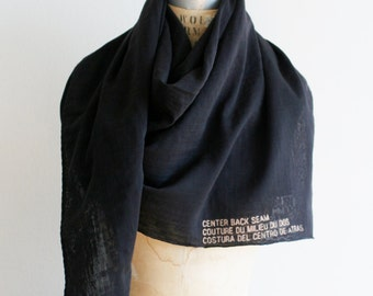 Sale, Black Cotton and Silk Scarf, Printed Text, Spring Summer lightweight, Fashion Accessories,