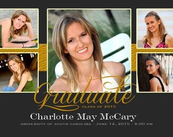 Graduation Custom DIGITAL Invitation, 5 Photos Graduation Invitation, High School Graduation Invitation, College Graduation Invitation